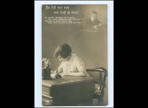 V069/ Frau mit Telefon Fotomontage Foto AK 1915