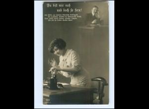 V070/ Frau mit Telefon Fotomontage Foto AK 1915