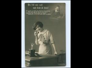 V071/ Frau mit Telefon Fotomontage Foto AK 1915
