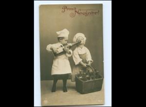 Y16124/ Neujahr - Kinder als Koch mit Sekt NPG Foto AK 1909