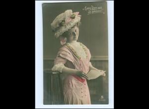 Y16126/ Junge Frau mit Hut schöne Foto AK koloriert 1909