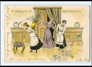 Y16037/ Häusliches Backfischlein Haushaltshilfe Litho Künstler AK 1901