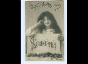 Y16123/ Wochentag Sonnabend - junge hübsche Frau Foto AK ca.1910