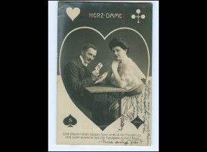 Y16033/ Herz-Dame Kartenspieler Spielkarte Foto AK 1907