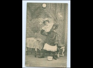V063/ Frau mit Nachttopf AK ca.1900