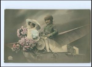Y16198/ KInder im Flugzeug Fotomontage Foto AK 1913