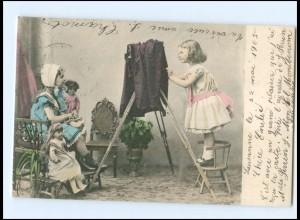 V042/ Fotoapparat Mädchen mit Puppen AK 1905