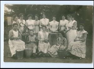 V033/ Haushaltungsschule Küche Kochen Foto AK ca.1912