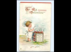 Y16018/ Tuck` AK Valentine Junge als Koch Litho Ak ca.1910