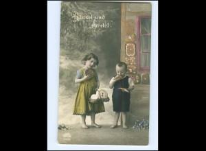 Y16160/ Märchen Hänsel und Gretel essen Lebkuchen Foto AK ca.1910