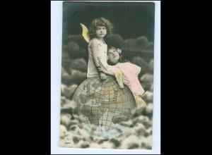 V125/ Fotomontage Kinder Mädchen Engel Weltkugel schöne Foto AK ca.1910