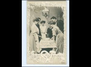 Y16206/ Neujahr Paare feiern schöne Foto AK 1909