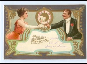 V079/ Jugendstil Neujahr schöne Litho Prägedruck Golddruck AK 1904