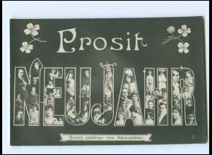 V089/ Fotomontage Neujahr Foto AK Unsere Lieblinge vom Schauspielhaus ca.1910