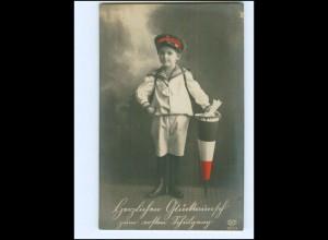 V044/ Kind Junge in Marine-Uniform Einschulung Patriotik Foto AK ca.1915 WK1