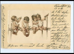 Y16208/ Kinder Babys trinken Wein Litho AK 1909
