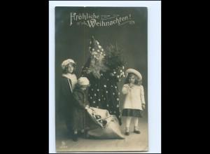 Y16146/ Weihnachten Weihnachtsmann und Kinder schöne Foto AK 1911