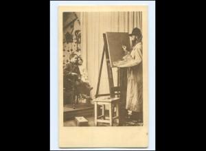 Y16122/ Kunstmaler malt Kinder Ottmar Zieher AK ca.1900
