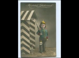 V048/ Kind in Uniform mit Pickelhaube Glückwunsch Foto AK 1911