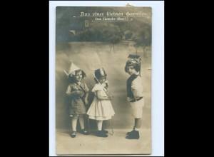 V045/ Kinder in Uniform kleine Garnison Foto AK 1912