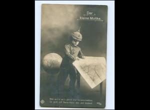 """V046/ Kind Junge in Uniform """"Der kleine Moltke"""" WK1 Foto AK Globus Landkarte"""