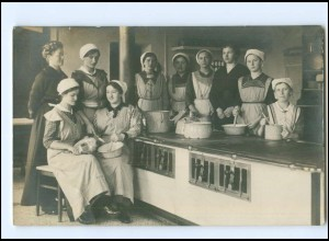 V025/ Haushaltungsschule Küche Kochen Foto AK ca.1912