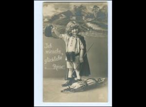 Y16186/ Reisen Kind als Reisender Wanderer Foto AK 1915