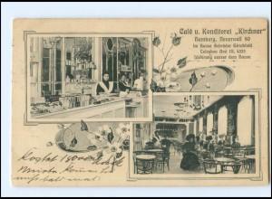 U9979/ Hamburg Cafe Konditorei Kirchner, Neuer Wall 80 AK 1908