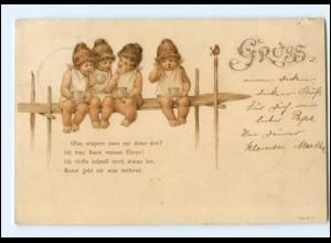 Y16210/ Kinder Babys trinken Kaffee Litho AK 1899