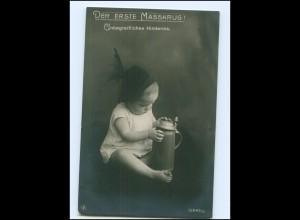 Y16172/ Bier Der erste Masskrug! Baby mit Bierkrug MPG Foto AK ca.1910