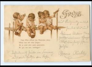 Y16209/ Kinder Babys trinken Wein Litho AK 1900