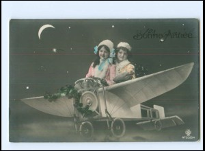 Y16195/ Bonne Annee Neujahr Kinder im Flugzeug Fotomontage Foto AK ca.1910