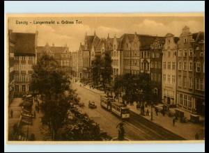 XX10080/ Danzig Langermarkt Straßenbahn AK ca.1925