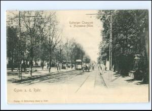 XX10105/ Essen Kettwiger Chaussee und Huyssens-Allee Straßenbahn 1902 AK