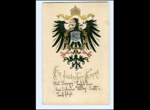 XX009921/ Ein deutscher Gruß Wappen Prägedruck 1902