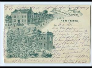 XX10148/ Gruß aus Osnabrück Hotel Drei Kronen Ak 1895 !