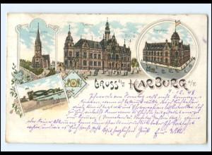 XX10252/ Hamburg Gruß aus Harburg Litho AK 1898