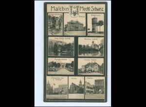 XX10084/ Malchin Rathaus Schloß Kirche Wasserturm 1917 AK