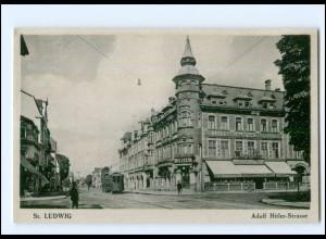 XX009877/ St. Ludwig ( Saint-Louis) Adolf-H-Straße, Straßenbahn AK ca.1940 Elsaß