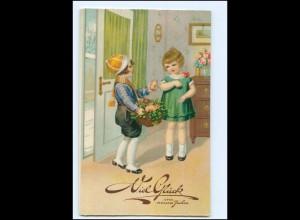 XX10256/ Neujahr Kinder mit Glücksschweine Litho AK 1933