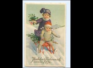 XX10255/ Neujahr Kinder rodeln Schlitten Litho AK ca.1928