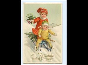 XX10254/ Neujahr Kinder rodeln Schlitten Litho AK ca.1928