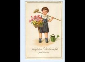 XX10258/ Geburtstag Kind Gartenarbeit Gießkanne Blumen Litho AK 1940