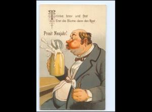 XX009870/ Dicker Mann trinkt Bier Bierkrug Litho Humor AK ca.1925