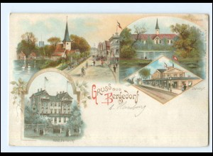 XX10235/ Hamburg Gruß aus Bergedorf mit Bahnhof Litho AK ca.1900