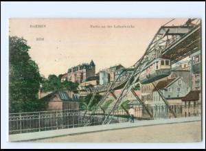XX10112/ Barmen Partie an der Loherbrücke Schwebebahn 1907 AK