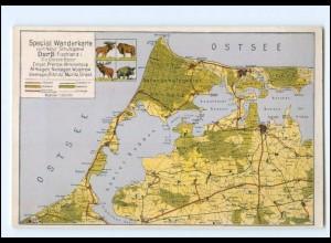 XX009867-183/ Darß Fischland Ostsee Landkarten AK ca.1930