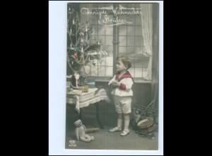 XX009930/ Weihnachten Junge mit Teddy Spielzeug Foto AK ca.1912