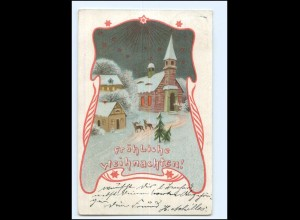 XX009931/ Weihnachten Kirche Rehe Litho AK 1904