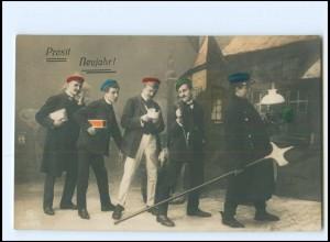 XX009929/ Neujahr Studenten Studentika Foto AK 1912